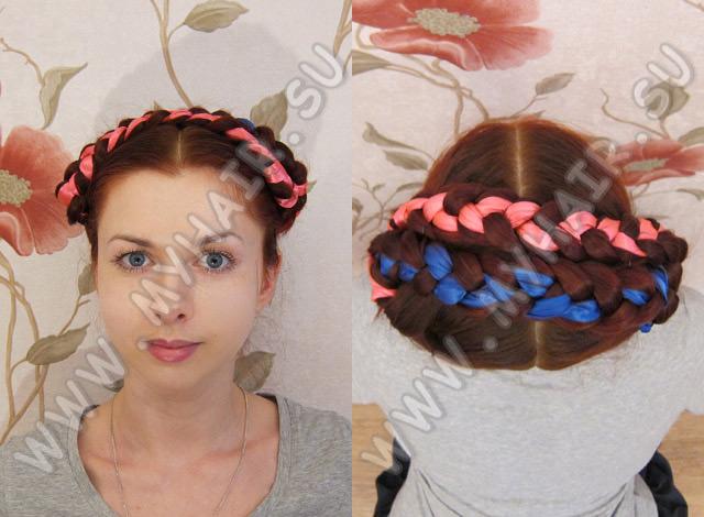 плетение кос с лентами - Вязание.