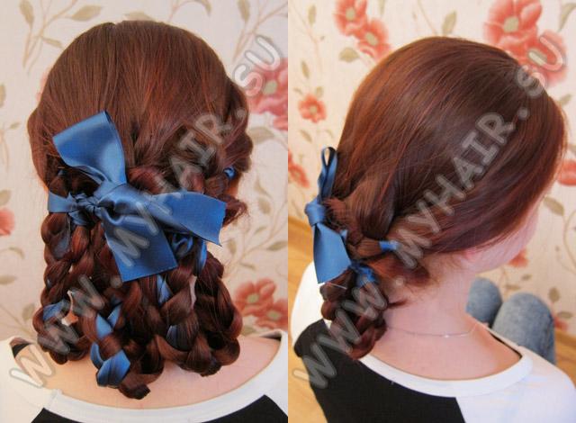 техники плетения кос с лентами.